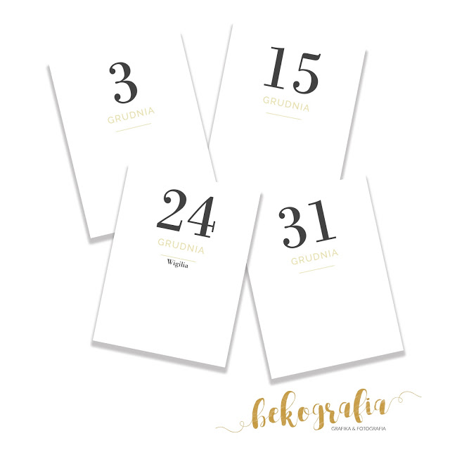 Grudniowe karty do pobrania – dni miesiąca (grudzień)